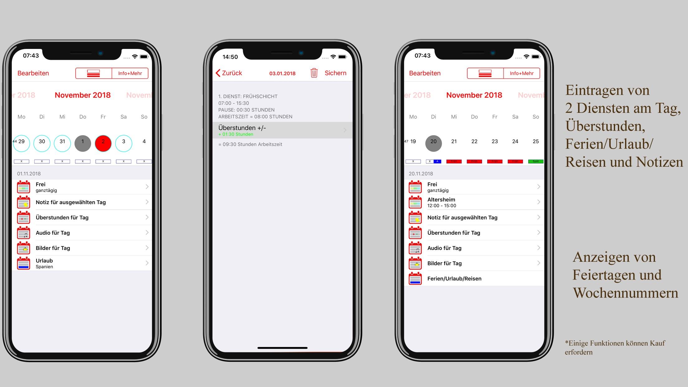 Dienstplan-Kalender Screenshot