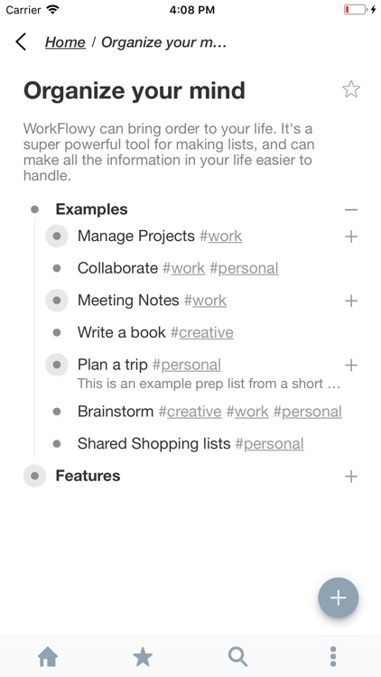 WorkFlowy: Note, List, Outline screenshot-0