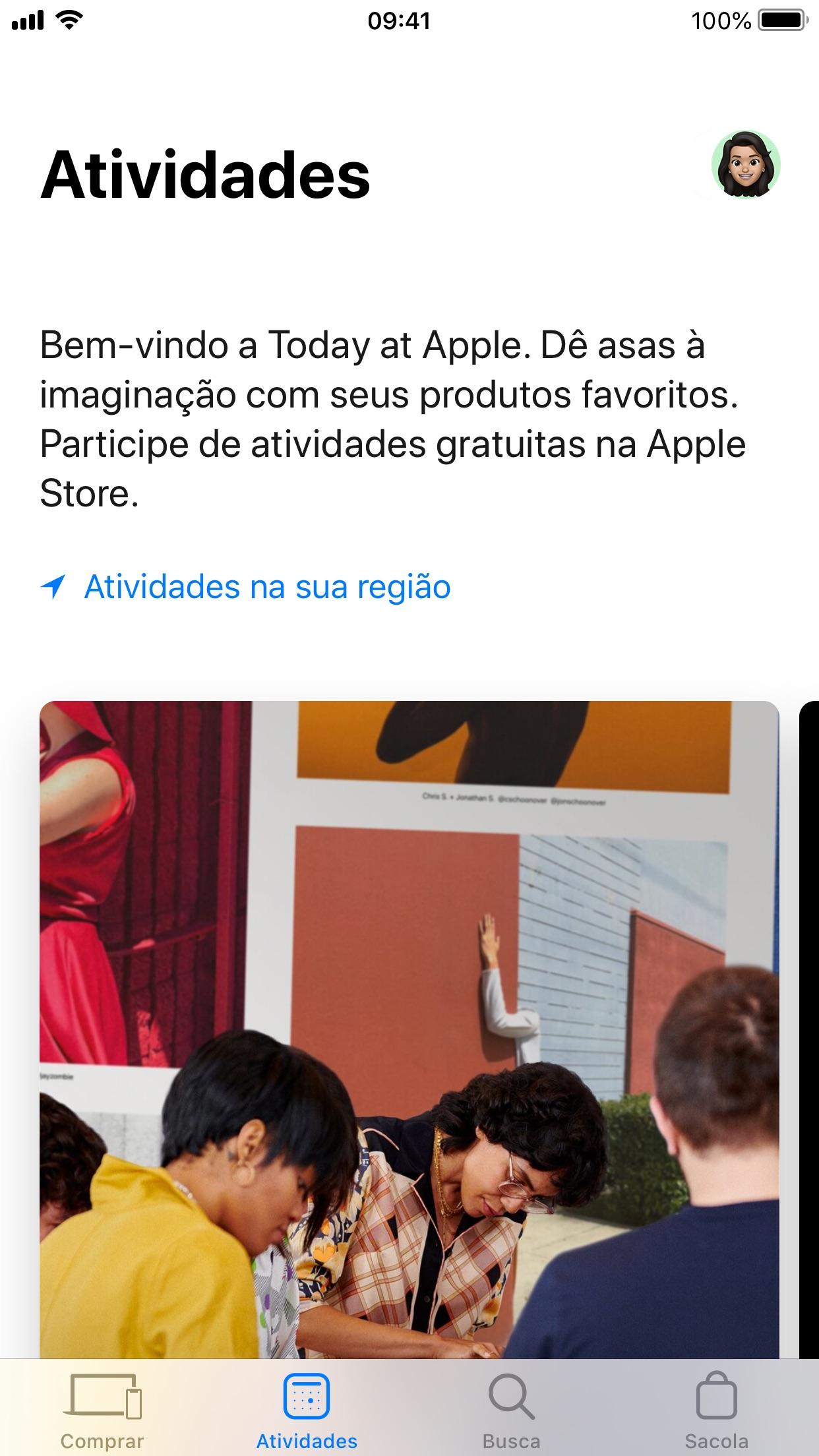 Screenshot do app Apple Store