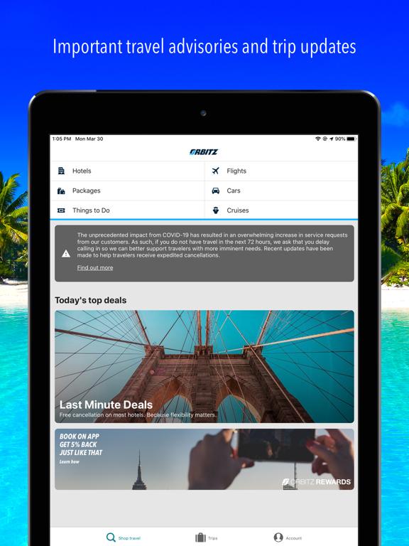 Orbitz Flights, Hotels, Cars screenshot