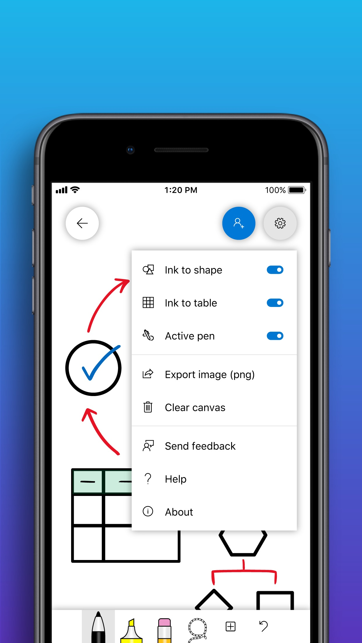 Screenshot do app Microsoft Whiteboard