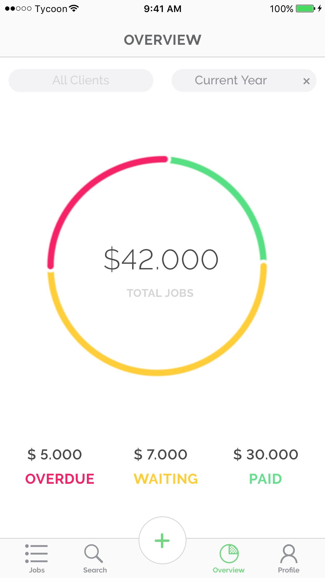 Tycoon: Freelance job tracking Screenshot