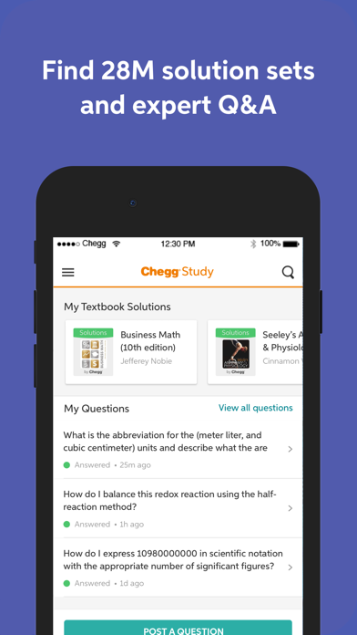 Chegg Study - Homework Help Screenshot