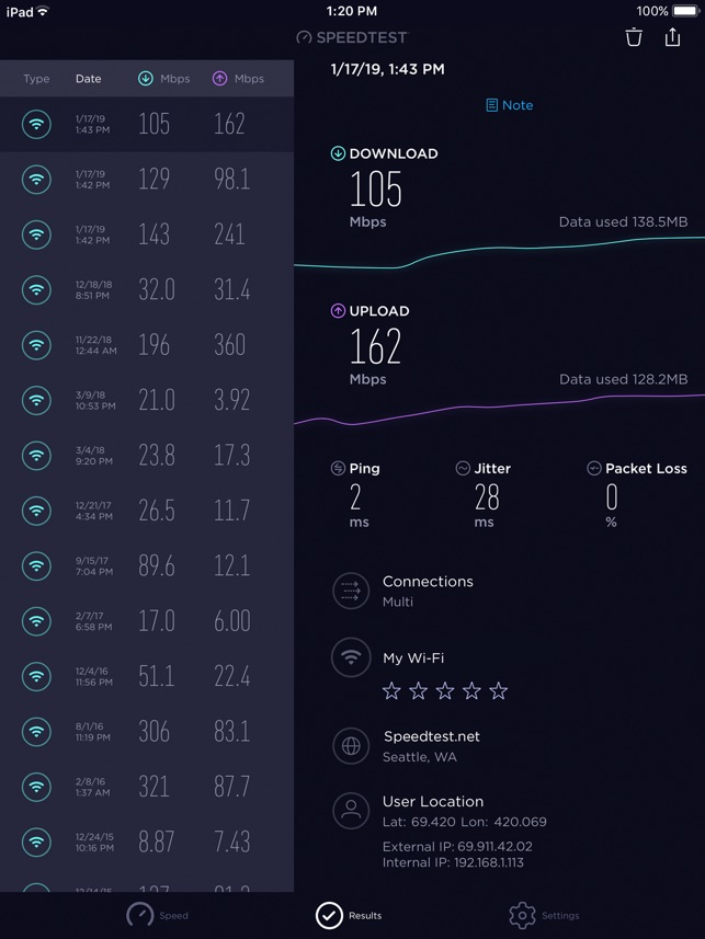 Speedtest - ADSL Speed Test Screenshot