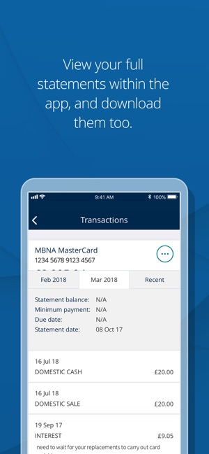 MBNA Card Services app on the App Store