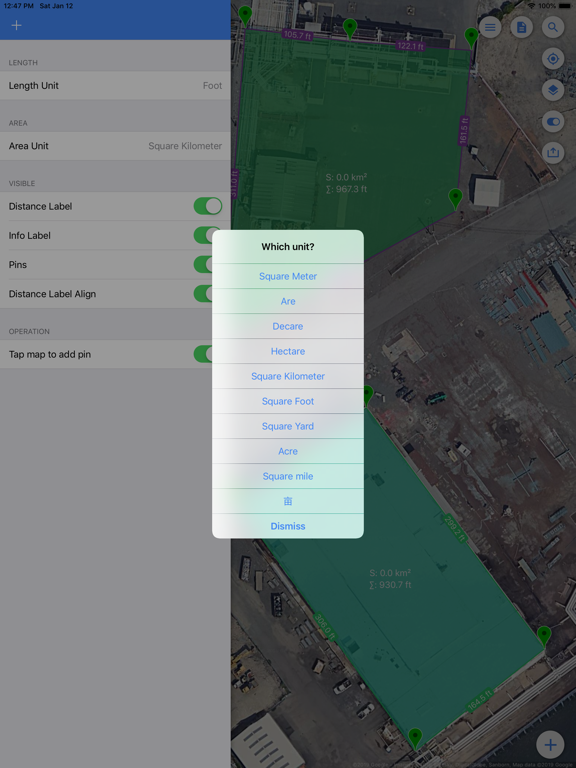 Planimeter Pro - Measure path and land area on map screenshot
