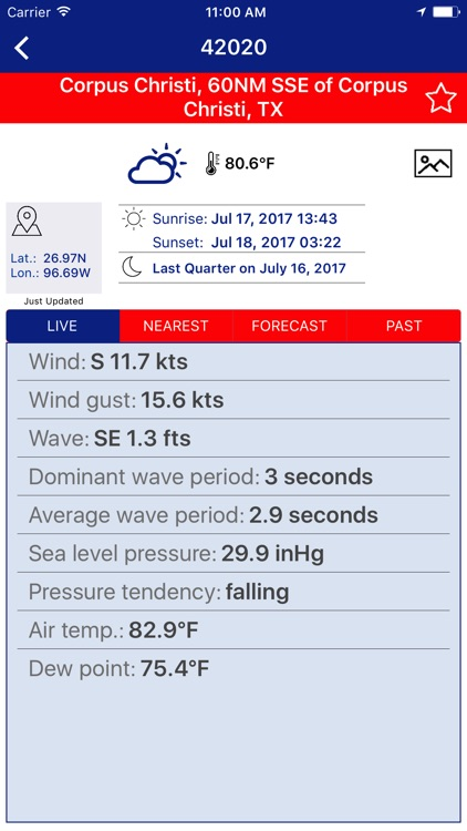 NOAA NDBC Buoy Live Marine