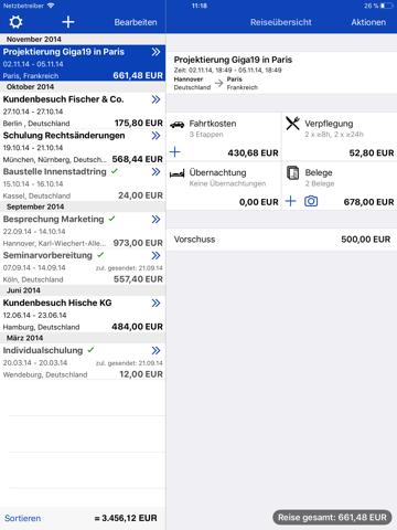 Screenshot of Reisekosten