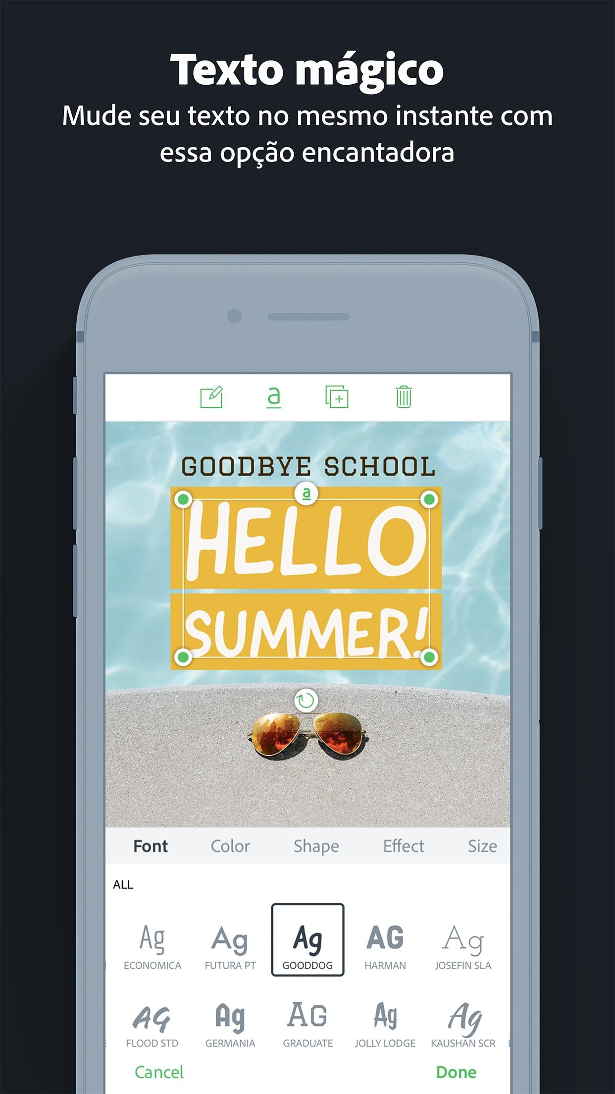 Screenshot do app Adobe Spark Post: Insta Editor