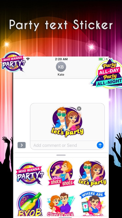 Party Text Stickers