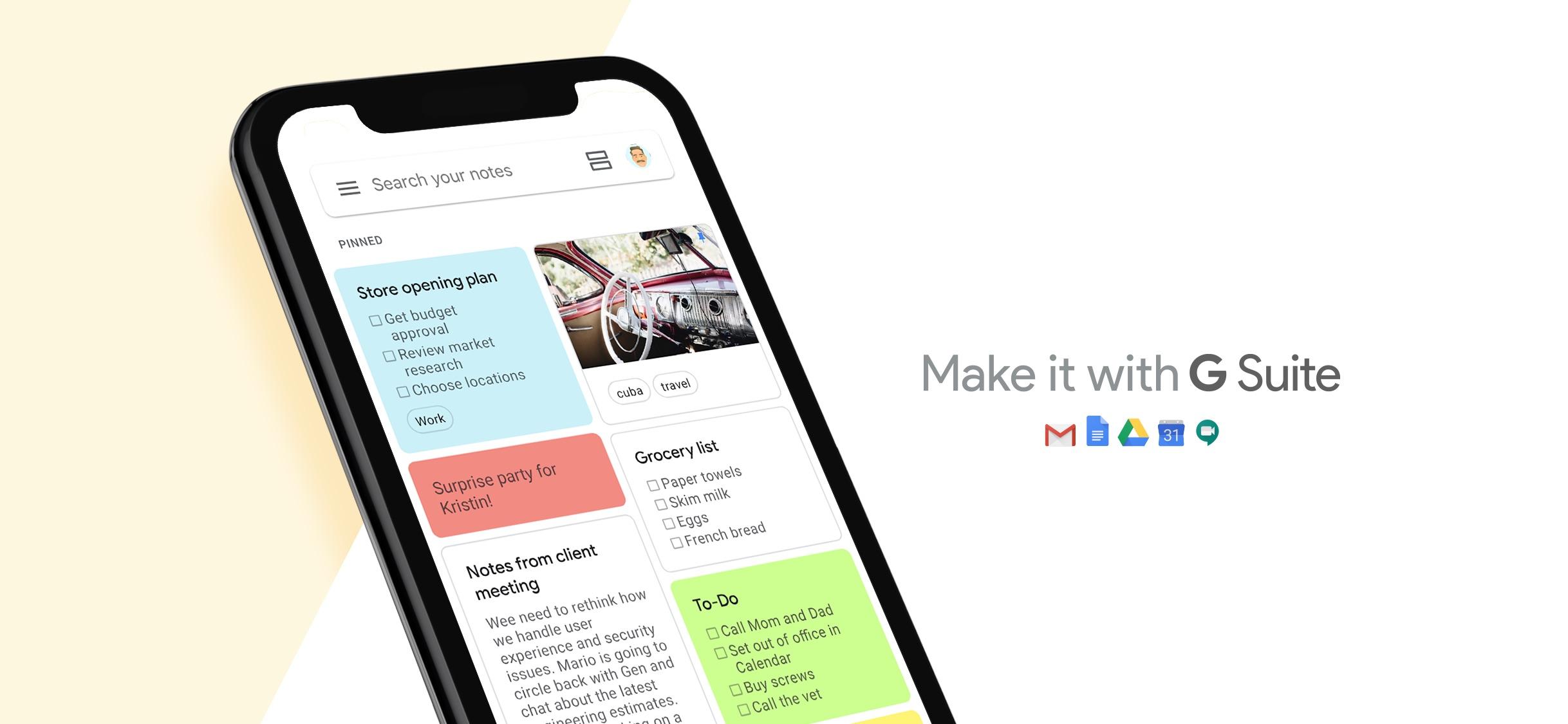 Screenshot do app Google Keep: notas e listas
