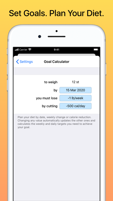 Weight Diary Screenshots