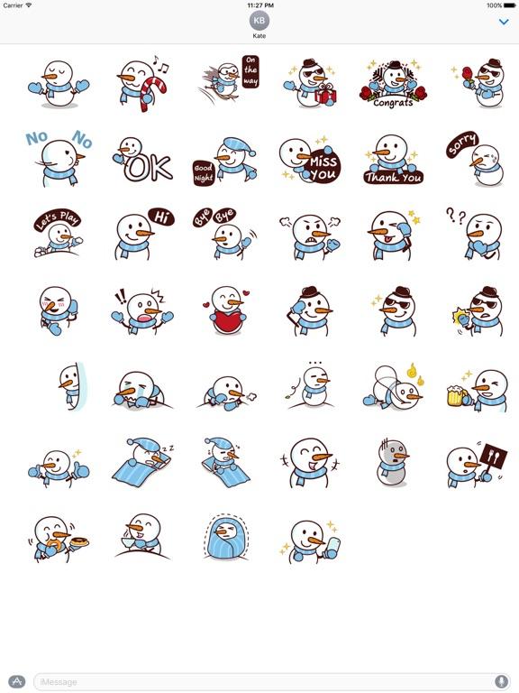 Cute Snowman In Winter Sticker screenshot 4