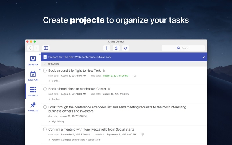 Chaos Control™: GTD Organizer Screenshots