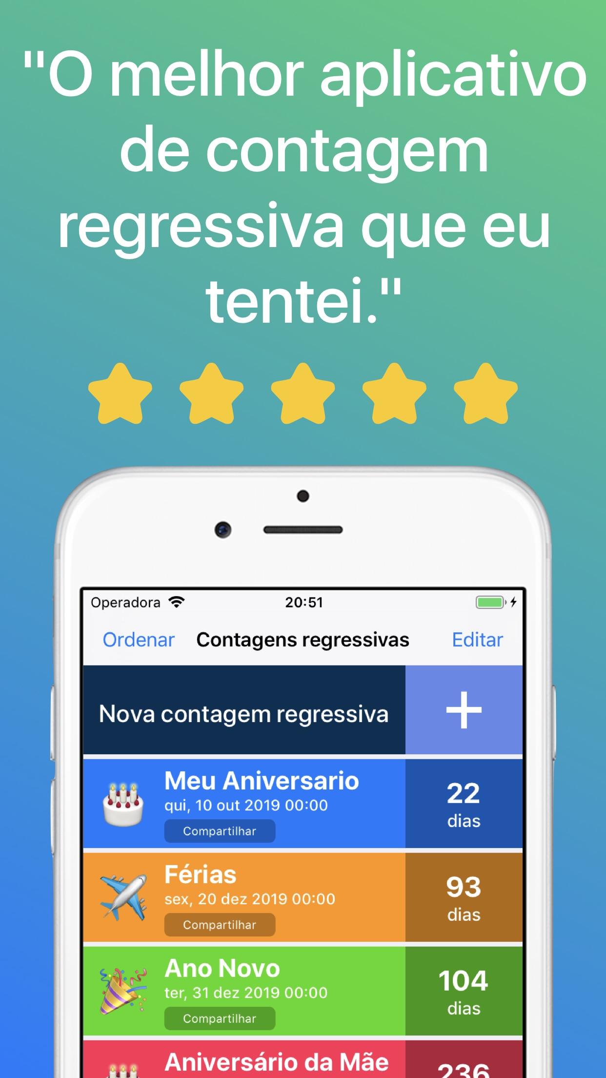 Screenshot do app Contagem Regressiva ◎
