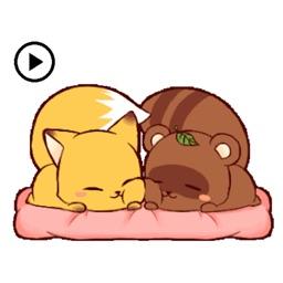 Animated Cute Raccoon And Fox