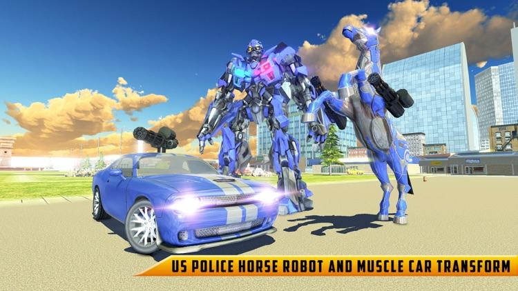 Police Robot Car - Horse games screenshot-5