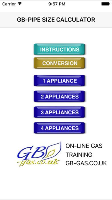 GB Gas Pipe Sizing Calculator screenshot one