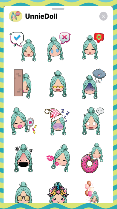 Screenshot of Unnie Doll Stickers App