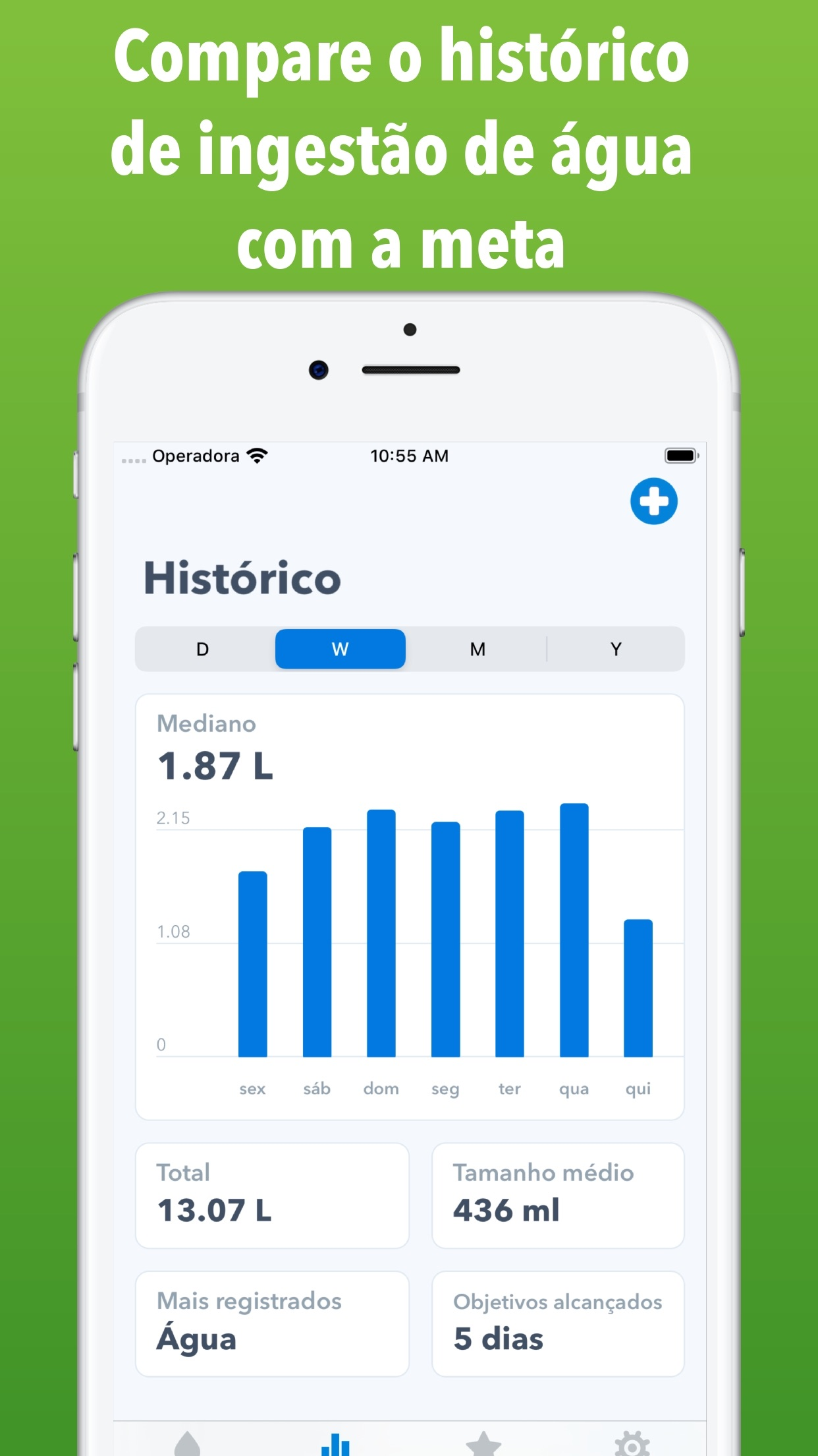 Screenshot do app WaterMinder