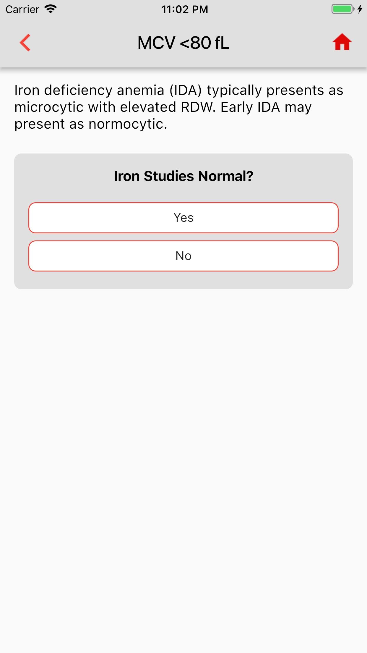 Anemia Algorithm Screenshot
