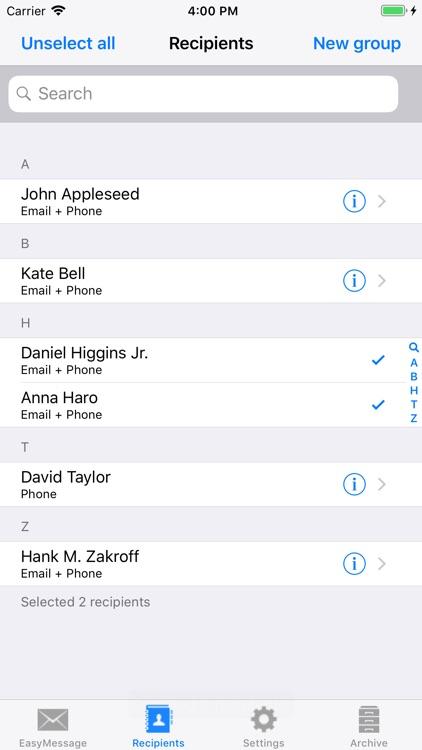 Easy Message LITE - Mass Text screenshot-3