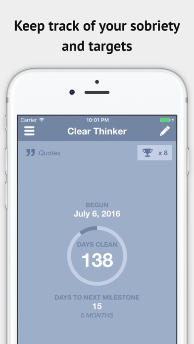 Clear Thinker Sobriety Counter