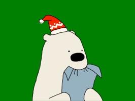 Happy Polar Bear Green Sticker
