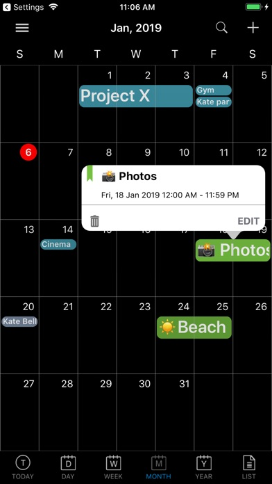 Screenshot for CalendarBlack Pro in United States App Store