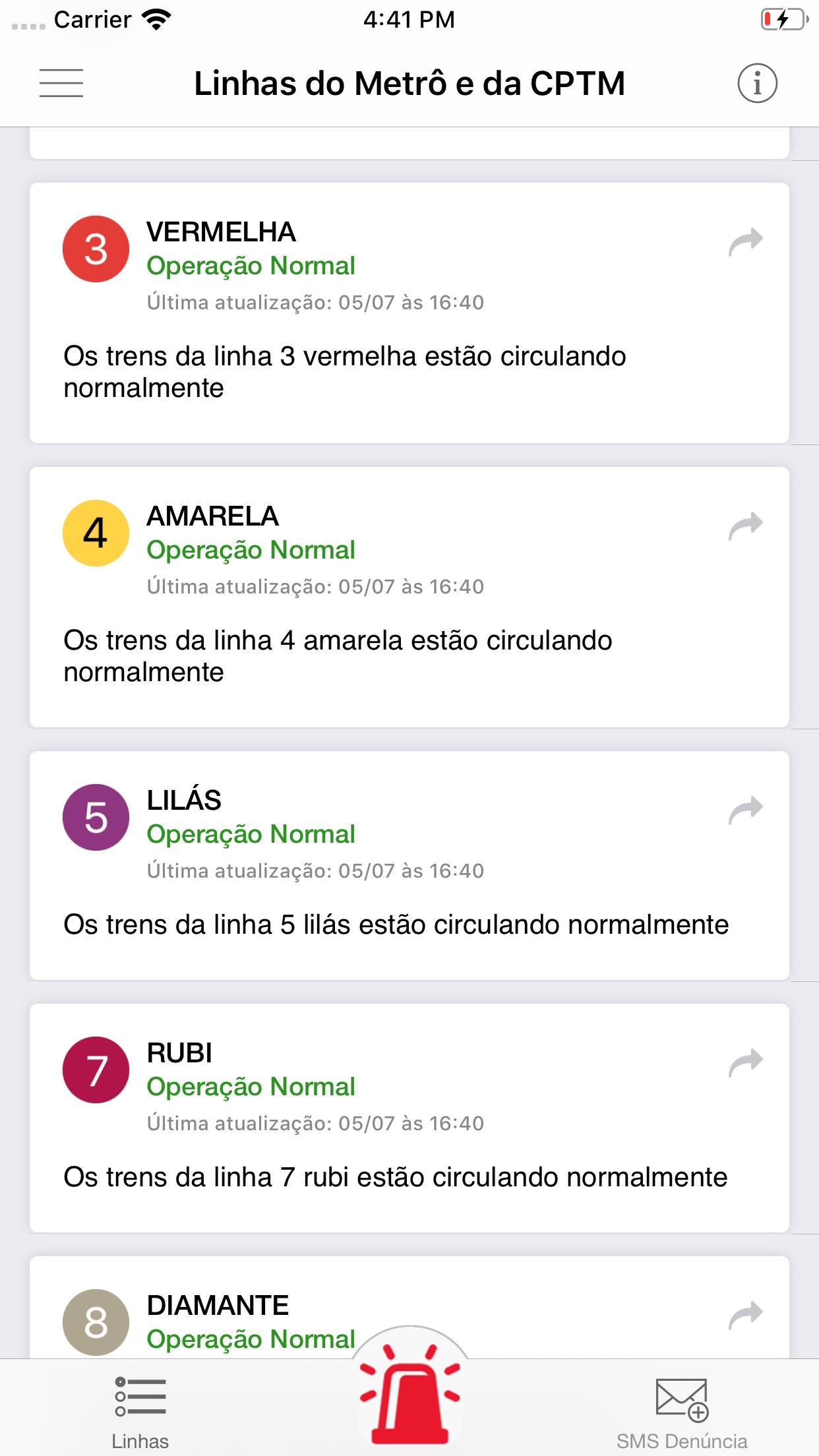 Screenshot do app Situação Metrô e CPTM