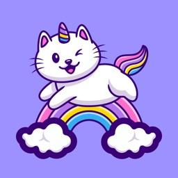 White Cat Stickers-CatMoji