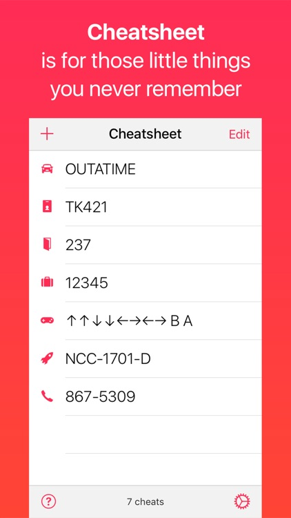 Cheatsheet Widget