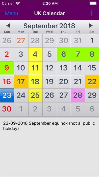 2019 UK Holiday Calendar NoAds screenshot one