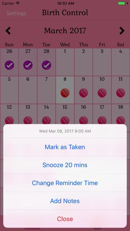 Birth Control Pill Reminder screenshot-3