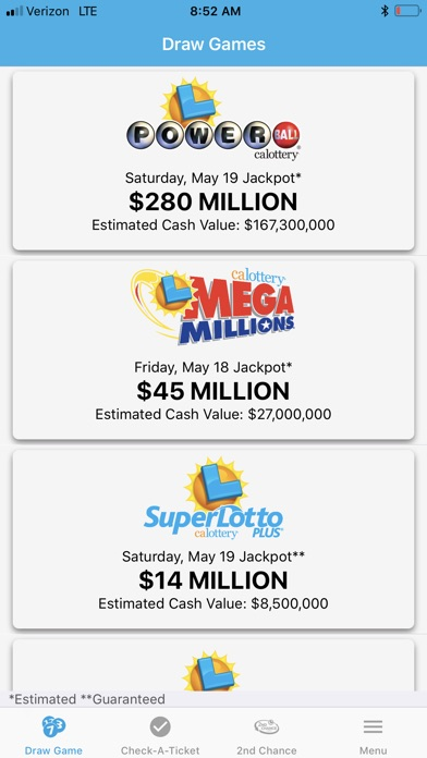 CA Lottery Official App for Windows