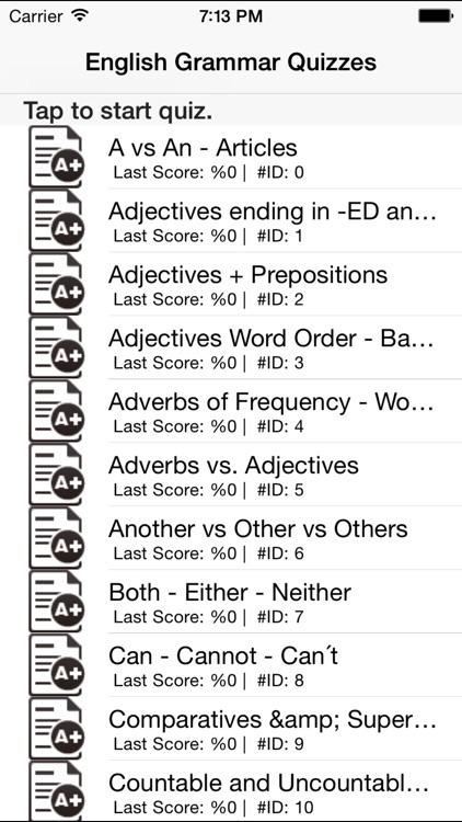 English Grammar Quizzes Games by ahmet Baydas