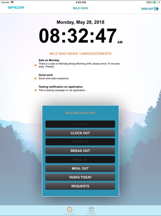 Epicor S+ Timeclock