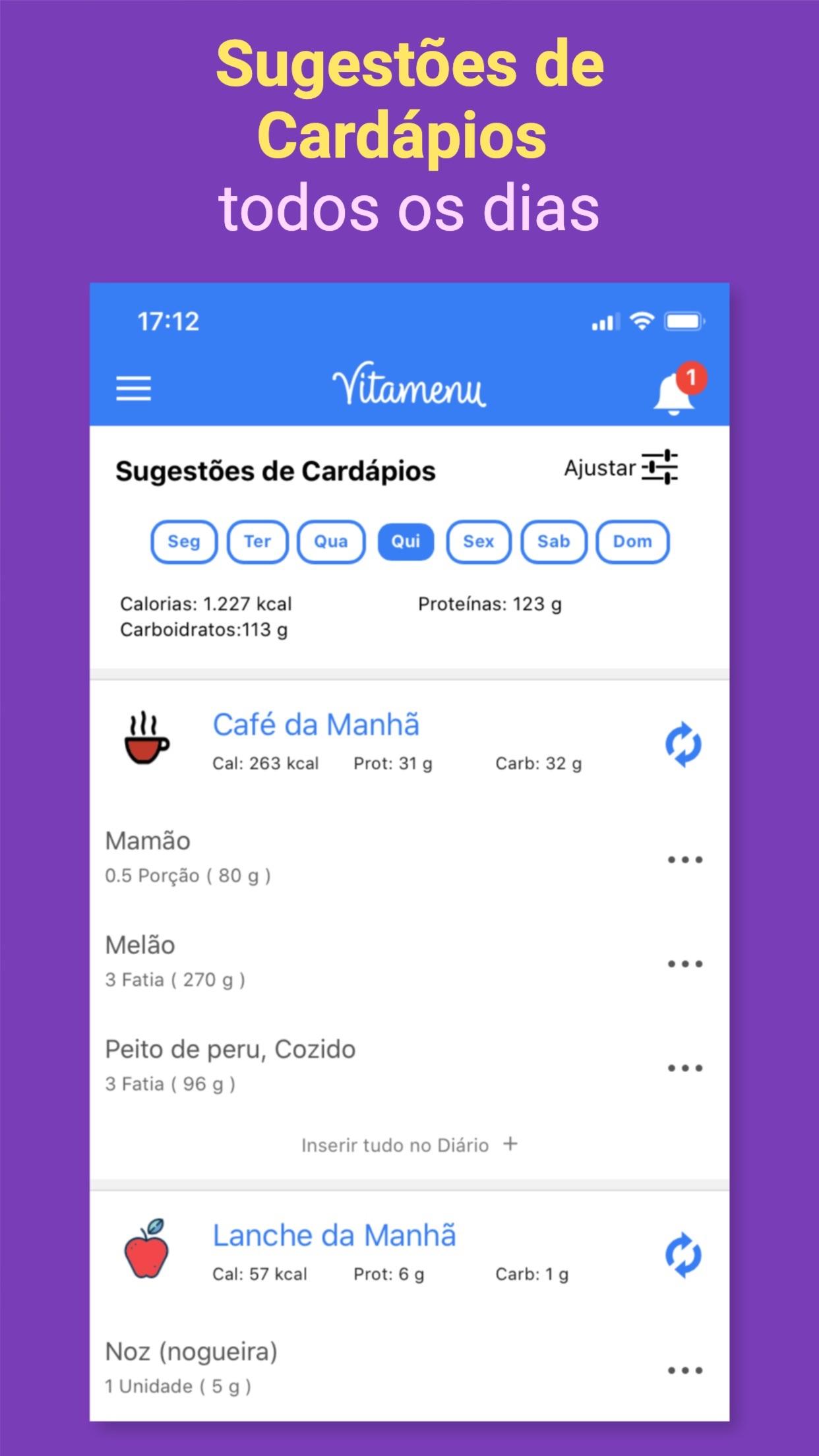 Screenshot do app Vitamenu - Dieta com Saúde