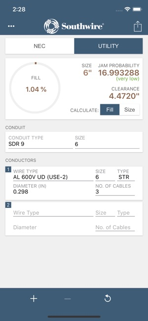 Southwire conduit fill calc on the app store screenshots keyboard keysfo Images