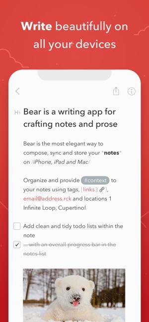 bear writing app