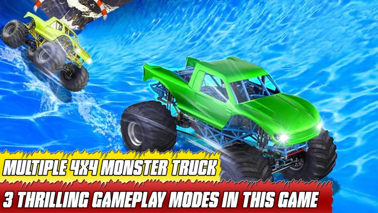 water slide monster truck Race