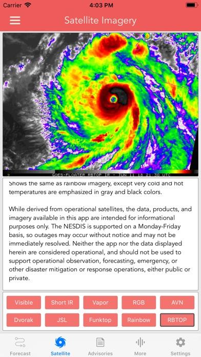 National Hurricane Center Data Screenshot