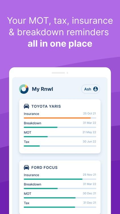 Rnwl - MOT, tax, car insurance