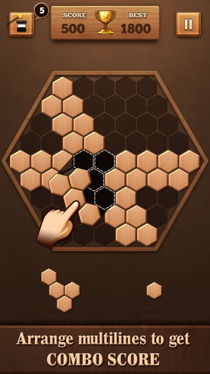 Wooden Hexagon Fit: Hexa Block screenshot-3