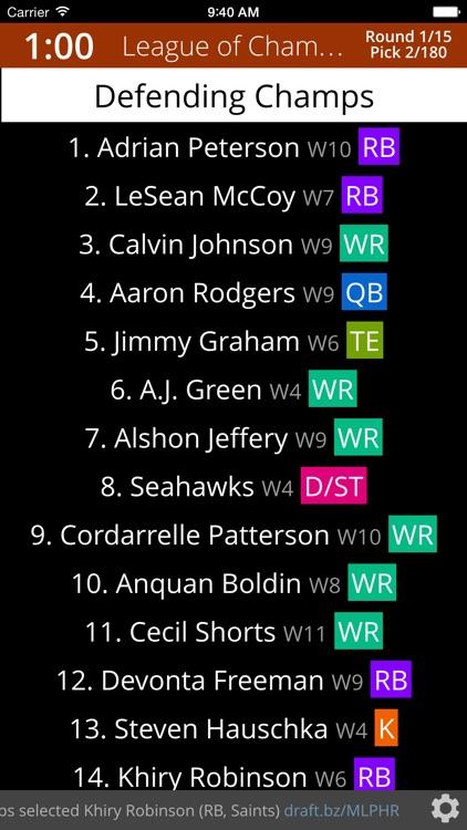 Draft Night - Fantasy Football Draft Board 2017