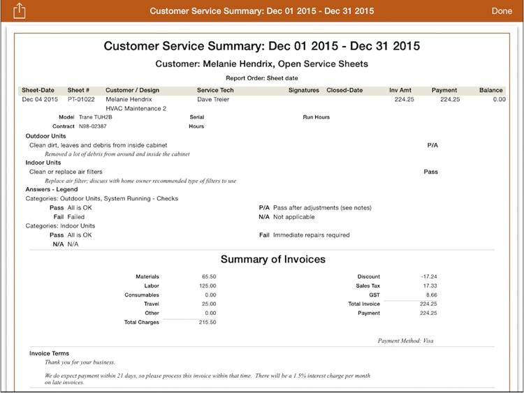 mpengo Service Sheet