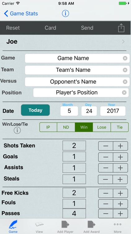 Soccer Player Tracker, Stats Logbook & Game Notes