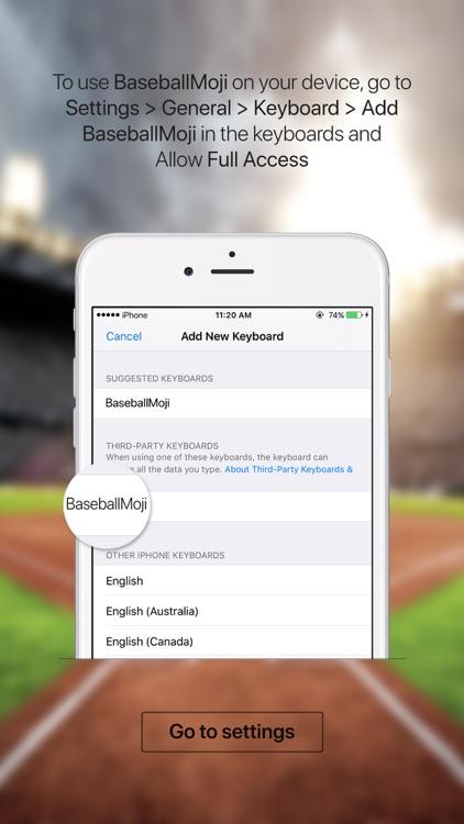 BaseballMoji - baseball emojis & stickers keyboard screenshot-3