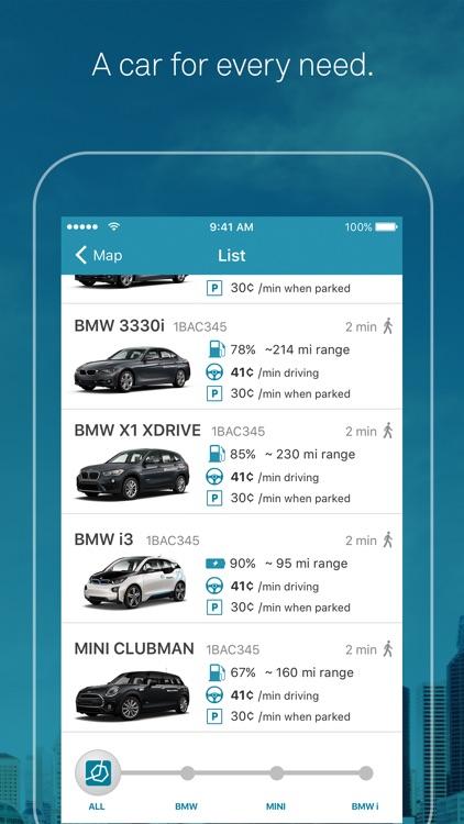 ReachNow CarSharing by BMW, BMW i, MINI screenshot-3