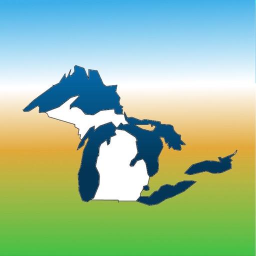 Aqua Map Michigan MI Lakes and Great Lakes